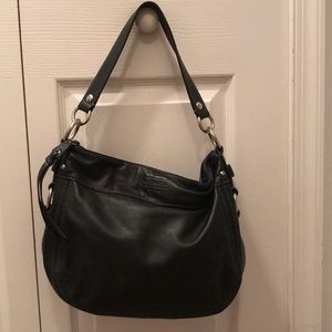 Vintage black leather coach saddle bag